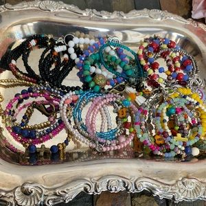 Beaded Bracelets With Tassels, Charms